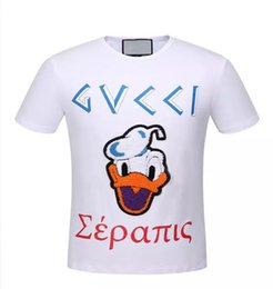Wholesale Mens Towels - 2018 Fashion Donald Duck Floss Embroidery Towel Printed Letters Casual T-Shirt Summer Trendy Mens Short Sleeve Tee Tops Brand Clothing 5 2 R