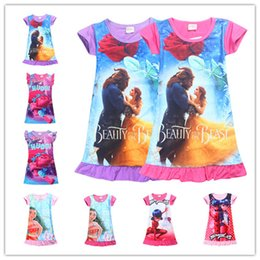 2017 vêtements les plus récents Robes pour filles 2017 NEWEST Beauty Beast Baby Kids Dress Trolls Moana Vêtements Enfants Vêtements en coton 8 Designs Mix Wholesale