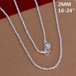 Wholesale 925 Silver Necklace For Sale - New Popular Hot Sale Promotion Solid 925 Sterling Silver Jewelry 2mm 1pc Necklace ,new Fine 925 16-24inch Chain Necklace for Women