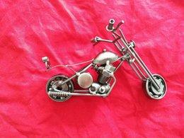 Wholesale Hand Made Metal Art - Retro DIY Harley Motorcycle alloy model All hand made Metal motorcycle toy Desktop decoration motorbike Arts Crafts