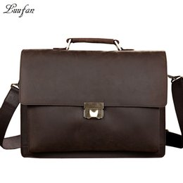 Wholesale Bag Mens Cowhide - Wholesale- Men's Genuine Leather briefcase with dial lock,15 inch Vintage Business bag,Cowhide Laptop Handbag,Mens Work tote fast post