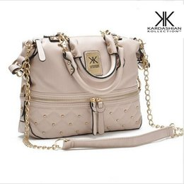 Wholesale Rivet Bag Beige - bags for women handbag 2017 rivet elegant medium size kardashian kollection beige leather handbag KK