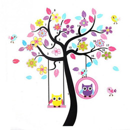 Wholesale Wall Stickers Girl Owl - 2017 Hot Sale Lovely Owls On the Swing Beautiful Colourful Tree Wall Stickers Removable Vinyl Decal Art for Girls Children Room