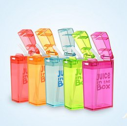 Wholesale Milk Bottle Box - Kids Straw Cup JUICE Bottle Juice in the Box Leakproof Juice Cups Baby Lemon Water Milk Bottles OOA2344