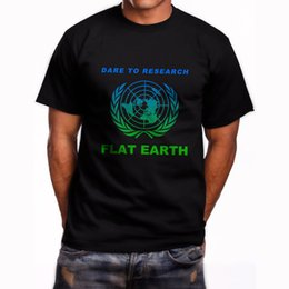Wholesale Middle Earth - Research Flat Earth Conspiracy Illuminati Short Sleeve Black T-Shirt S-3XL Middle Aged Top Tee Tops Male T Shirt Men