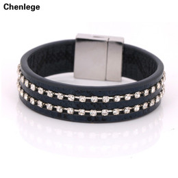 Wholesale Girl Magnets - Wholesale- handmade leather bracelet with bling rhinestone wrap leather bracelet hot cuff bangle for girl women gift whoelsale magnet style