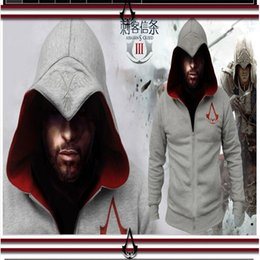 Wholesale Cardigan Out Wear - Wholesale-The new fashion high quality 2016 assassins creed cardigan zipper men's fleece Men's hooded fleece zip jackets worn out S-3XL