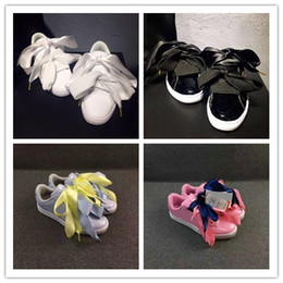 Wholesale Heart Shoes - 2017 good shoes bowknot Suede Basket Heart satin fenty rihanna Creeper Skate shoes running shoes.kids SIZE 36-40