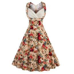 Wholesale Pinup Floral Dress - Wholesale- Plus Size V-neck Retro Dress Floral Print 50s Vintage Dress Rockabilly Swing Pinup Women Summer Dress Party Club Casual Dresses