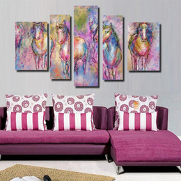 Wholesale Horse Paint Wall Art - 5 sets unFramed Colorful Running Horse Print Painting Modern Canvas Wall Art For Home Modern Decor
