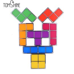 Wholesale Diy Blocks Lamp - Wholesale- 2017 New LED Desk Table Lamp 7Pcs DIY Retro Cube Game Tower Night light Baby Tetris Flexible Block for Home Decor&Entertain