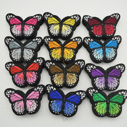 Wholesale stickers for craft - 120pcs Iron On Patch Sew Embroidered Trim Standard butterfly fabric stickers for diy sewing craft