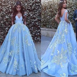 Off ombro vintage vestidos de baile on-line-Off-the-ombro decote vestido de baile vestidos de noite com apliques de renda frisada azul vestido de baile vestido formatura vestido de festa