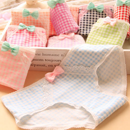 Wholesale Sweet Candy Sale Shipping - DHL free shipping Plaid sweet women panties briefs underwear candy color cute lady cotton girls lady underwear cheapest wholesale hot sale