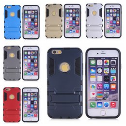 Wholesale Iphon5 Cases - Anti-knock Tank Armor Slim Hybrid Shockproof Hard Support protection Cases For iphon5 5S 6 6PLUS 6S 6S plus 7 7plus with stand