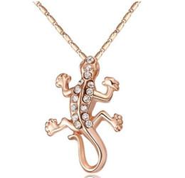 Collares de gecko online-18 k oro rosa de cristal de moda de joyería de las mujeres sistemas de la joyería gecko colgante collar de cadena de la joyería de la boda conjunto de regalos de navidad