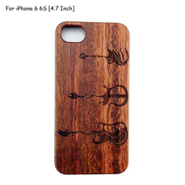 Wholesale Engraved Guitars - Luxury Musical Instrument Series Rose Wood Case for iPhone 6 6S PC Back Cover Laser Bass Guitar Flower Engrave Wooden Protector Coque