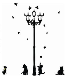Wholesale Cat Under Street - Wholesale- Adhesive Home Decoration 3 Little Cat under Street Lamp DIY animal Wall Sticker Wallpaper Mural Room Decal