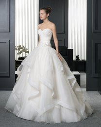 Wholesale Sweetheart Strapless Wedding Ball Gown - 2017 New Sexy Strapless Sweetheart Embroidery Princess Organza Ball Gown Wedding Dresses 218
