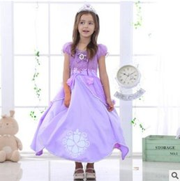 Wholesale Top Best Ball Gown - Fancy Dress Costume Kids Clothing Flower Dresses Girls Princess Party Outfit Cosplay Dress For Girl Top Quality Purple Dress Best Gifts