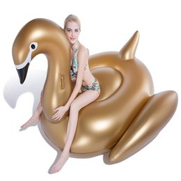 Wholesale Mattress Giant - Inflatable Float Giant Inflatable Water Swimming Float Raft Air Mattress Swim Ring Ride-On Pool Toy Swan Gold White Black DHL Fedex Shipping
