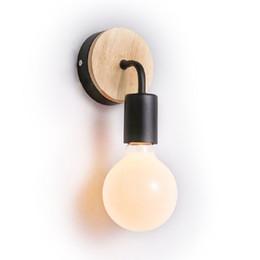 Canada Europe du nord vintage lampe de mur en métal en bois industrielle éclairage intérieur lampes de chevet lampes de mur LED pour la décoration de la maison, WL06 Offre