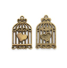 Wholesale Bird Cage Pendant Charm - Wholesale- 20pcs lot Antique Bronze Metal Bird Cage Charm Pendant Fits For Bracelets & Necklaces DIY Jewelry Making Accessories F78