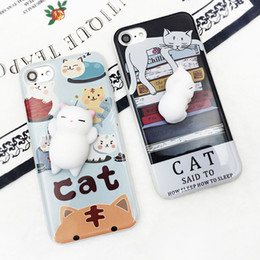 Wholesale Cat Sock Toy - New Fashion 3D Silicone Cartoon Animals Rubber Vent toys Joy Doll Pinch Book Sleep Cat Sock TPU Case For Iphone6 6s 6plus  7 7plus
