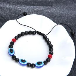 Encantos de buena suerte envío gratis online-Nueva Buena Suerte Turco Evil Eye Joyería Hecha A Mano Hamsa Mano cuerda knit Charm Bracelet envío gratis