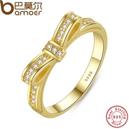 Wholesale Micro Setting 925 Wholesale - Wholesale- BAMOER Authentic 100% 925 Sterling Silver Bow Knot Stackable Ring Micro Pave CZ Rose Color Women Wedding Jewelry PA7129