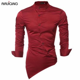 Wholesale Mandarin Collar Shirts Wholesale - Wholesale- Men Shirt Luxury Brand 2017 Male Long Sleeve Shirts Casual Mens Personality Oblique Single-Breasted Slim Fit Dress Shirts Mens