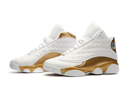 Wholesale Designer Boots Free Shipping - 2017 New Air retro 13 Men basketball shoes Golden White DMP Defining Moments Sports designer shoe Trainers running Sneakers free shipping