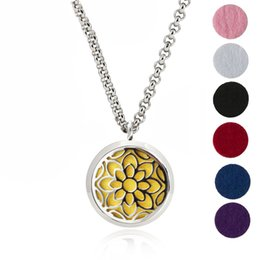 Wholesale Hypoallergenic Pendant Necklace - Aromatherapy Essential Oil Diffuser Necklace Jewelry -30mm Hypoallergenic 316L Surgical Grade Stainless Steel(Send Chain and 6 Felt Pad) Z18