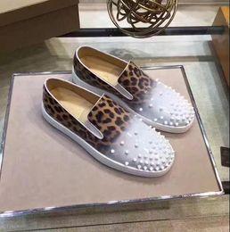 Wholesale Waterproof Leopard Shoe - Classic Causal Walking Flats Red Bottom Roller Boat Spikes Leopard Men,Women Slip-on Loafers Shoes Gentleman Wedding Party Dress Shoes