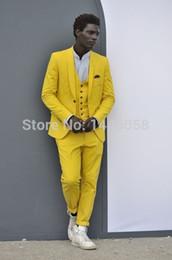 UK best groom wedding dress - Wholesale- Wedding Suit For Men 2016 Brand Clothing Custom Made Yellow Best Man Tuxedo Groom Wedding Dress Men Suits (Jacket+Pants+Vest)