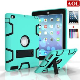 Wholesale Black Coffee Crystals - For iPad 2 3 4 air2 pro 9.7 inch Defender Cover Shockproof Kids Protector Case PC + Silicone Hybrid Robot Protect with gifts