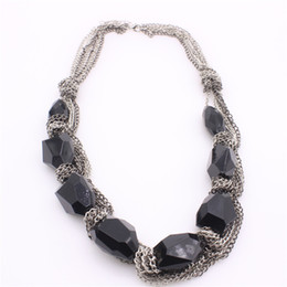 Wholesale Chunky Rhinestone Necklace Black Chain - New Boho Collar Necklaces Chunky Statement Chain Vintage Black Gemstone Rhinestone Bib Choker Necklace For Women PF2