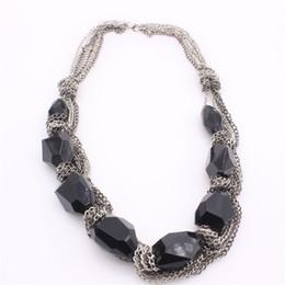 Wholesale Twisted Chunky Choker Necklace - New Boho Collar Necklaces Chunky Statement Chain Vintage Black Gemstone Rhinestone Bib Choker Necklace For Women PF2