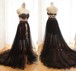 Wholesale Detachable Dress Lace - Detachable Black Formal Dresses Evening 2017 Strapless Lace Applique Beads Backless Prom Dress Long Formal Gowns Runway Fashion