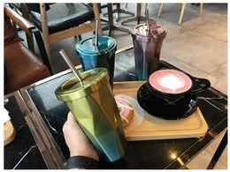 Regalos divertidos de cafe online-Tubo de 500 ml Copa Irregular Rombo Tazas de café Doble taza de paja de acero inoxidable Tazas divertidas para regalo Personalizar Taza de café 77