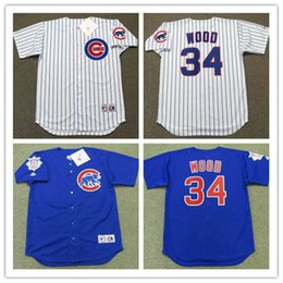 Wholesale Cheap White Wood - Mens cheap Chicago Cubs KERRY WOOD Throwback Jersey 2003 blue #34 KERRY WOOD Cubs 2017 white Gold Program cool base baseball Jersey S-3XL