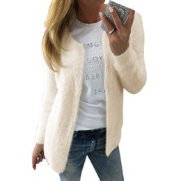Wholesale Poncho Tricot - Newest Style 2017 Autumn Winter Warm Fluff Sweaters Women Long Sleeve Silm Knitted Cardigan Poncho Female Tricot Loose Outwear