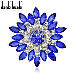 Wholesale Flower Bouquet Jewelry - Wholesale- Large Red Blue Rhinestone Brooches Wedding Bouquet Flowers Brooch Pins For Women Cheap Fashion Jewelry Clothes Accessoris