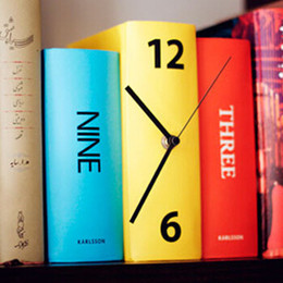 Wholesale Personalized Table Clocks - Wholesale-New Creative Book Set Desk Clock Personalized Tricolor Book Table Clock Modern Design Table Clock Home Decoration