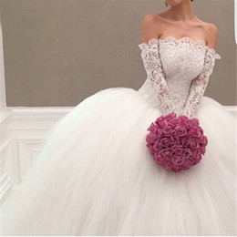 Wholesale White Shirts Puffy Sleeves - Princess Ball Lace Lace Wedding Dresses 2017 Dubai Long Sleeves Off Shoulder Sexy Puffy Lace Bridal Gowns