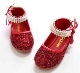 Wholesale Dance Shoes Size 11 - New Year and Autumn Girl Princess Beaded Shoes Model Big Solid Shoes Dancing Shoes Size 25-36