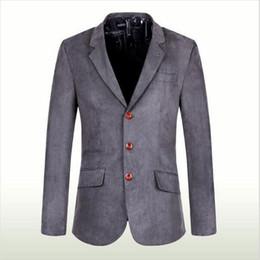 Wholesale Fitted Denim Blazer - Wholesale- AILOOGE 2016 Brand Denim Men Blazer masculino Jacket Slim Fit Casual Autumn Winter Blazer Men Suit Fashion Size XXL XXXL HZ385