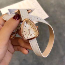 Wholesale Famous Triangles - Fashion women watch Famous luxury brand Leathe snake band diamond bezel dress quartz watches for ladies girls female wristwatches relogios