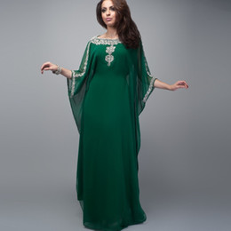 Wholesale Evening Gowns For Muslim Women - Dubai Fancy Islamic Dress For Women Evening Dress 2017 Muslim Dark Green Sequins Beaded Crystals Arabic Kaftan Party Gowns WL95
