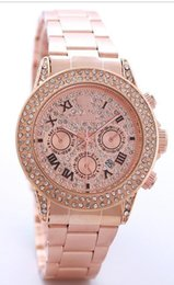 Wholesale Rose Strip - New High Quality Luxury Crystal Diamond Watches Big Bang Women Gold Watch Steel Strip Rose Gold Sparkling Dress Wristwatch Drop Ship rox
